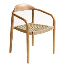 Chair Solid Wood and Rope Beige