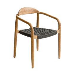 Chair Solid Wood and Rope Grey