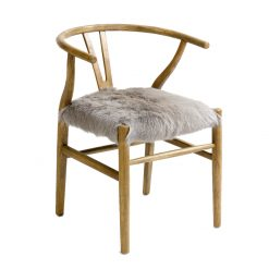 Chair Solid Wood with Fur