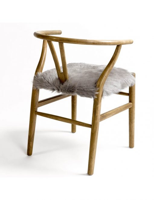 Chair Solid Wood with Fur 2