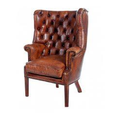vintage churchill leather armchair 4