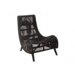 natural rattan lounge chair black